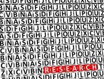 3D Word Onderzoek binnen verschillende brievenblokken Royalty-vrije Stock Fotografie