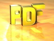 3D Word PDF op gele achtergrond Stock Afbeeldingen