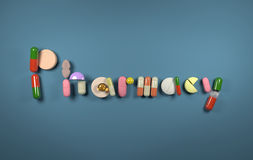 3D word Pharmacy formed of pills Stock Images