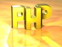 3D Word PHP op gele achtergrond Stock Illustratie