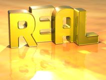 3D Word Real on yellow background Stock Photos