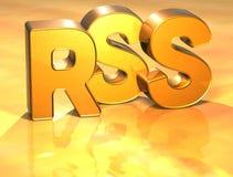 3D Word RSS op gouden achtergrond Stock Fotografie
