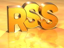 3D Word RSS sur le fond d'or Photographie stock