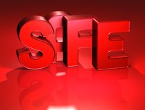 3D Word Safe on red background Royalty Free Stock Image
