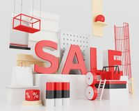 3d Word sale concept. 3d illustration. Word sale, design concept. Creative sale idea royalty free illustration
