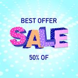3D word Sale. On colorful background. Poster design.Vector illustration Royalty Free Stock Photo