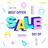 3D word Sale. On colorful background. Poster design.Vector illustration Stock Photography