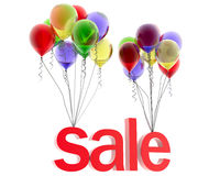 3d word sale. On multicolored balloons Royalty Free Stock Photography