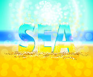 3d word sea, vector background. 3d word sea on the sand. Sunny background with flecks vector illustration