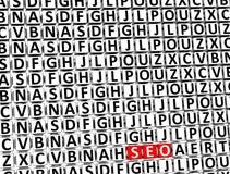 3D Word Seo à l'intérieur de différents blocs de lettres Photos stock