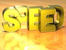 3D Word Snelheid op gele achtergrond Royalty-vrije Stock Foto's