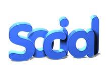 3D Word Sociaal op witte achtergrond Stock Afbeeldingen