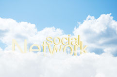 3d word social network in the clouds Stock Photos