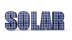 3d word Solar with photovoltaic cells. 3d word `Solar` with photovoltaic cells Royalty Free Stock Photography