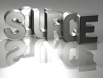 3D Word Source on silver background Royalty Free Stock Photo