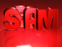 3D Word Spam on red background Royalty Free Stock Photo