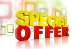 3d word of special offer. On abstract business background Royalty Free Stock Images