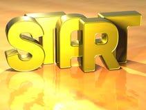 3D Word Start on yellow background Stock Photos