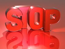 3D Word Stop on red background.  Stock Photography