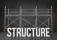 3D word structure against scaffolding in grey room. Digital composite of 3D word structure against scaffolding in grey room Royalty Free Stock Photo