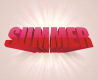3D word SUMMER. Vector background. 3D red letters, word SUMMER. Vector background Stock Photo