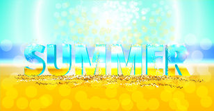 3d word summer. 3d vector word summer on the sand. Sunny background with flecks royalty free illustration
