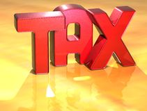 3D Word TAX on gold background Royalty Free Stock Photo