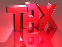 3D Word TAX on red background Stock Images