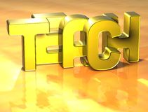3D Word Teach on yellow background.  Royalty Free Stock Photography