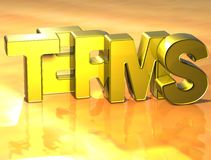 3D Word Termijnen op gele achtergrond Royalty-vrije Stock Foto's