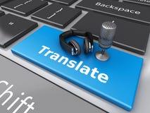 3d Word traduisent avec la MIC et les écouteurs sur le clavier d'ordinateur Photographie stock libre de droits