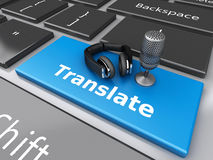 3d Word translate with mic and headphones on computer keyboard. 3d renderer image. Word translate with mic and headphones on computer keyboard. Translation Royalty Free Stock Photography