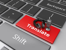 3d Word translate with mic and headphones on computer keyboard. 3d renderer image. Word translate with mic and headphones on computer keyboard. Translation Stock Photos