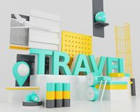 3d Word travel concept. 3d illustration. Word travel, design concept. Creative travel idea Royalty Free Stock Photography