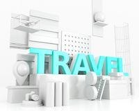 3d Word travel concept. 3d illustration. Word travel, design concept. Creative travel idea Stock Photos