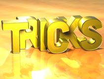 3D Word Tricks on yellow background Stock Image