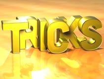 3D Word Trucs op gele achtergrond Stock Afbeelding