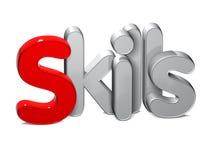 3D Word Vaardigheden over witte achtergrond Stock Foto's