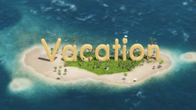 3d word vacation on tropical paradise island with palm trees an sun tents. With sail boat in the ocean.  day Royalty Free Stock Photos