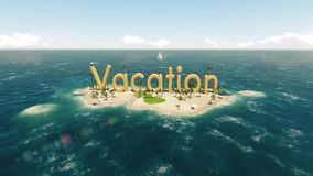 3d word vacation on tropical paradise island with palm trees an sun tents. With sail boat in the ocean. High quality animation stock footage