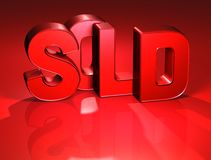 3D Word vendu sur le fond rouge illustration stock