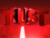 3D Word Vertrouwen op rode achtergrond Royalty-vrije Stock Foto
