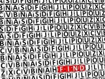 3D Word vindt binnen verschillende brievenblokken Vector Illustratie