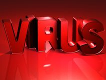 3D Word Virus on red background.  Royalty Free Stock Image
