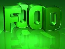 3D Word Voedsel op groene achtergrond Royalty-vrije Illustratie