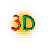 3D word written in red and green color comics icon Royalty Free Stock Image