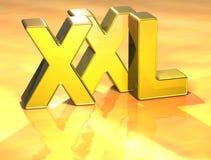 3D Word XXL op gouden achtergrond Royalty-vrije Stock Afbeelding