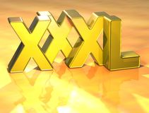 3D Word XXXL on gold background Royalty Free Stock Photo
