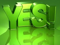 3D Word Yes on green background Stock Image