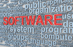 3d wordcloud words tags of software Stock Images